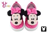 米奇90周年 3D大頭米妮萌娃 中小童 魔鬼氈 迪士尼 MIT MICKEY 休閒鞋 K7587#桃紅◆OSOME奧森鞋業