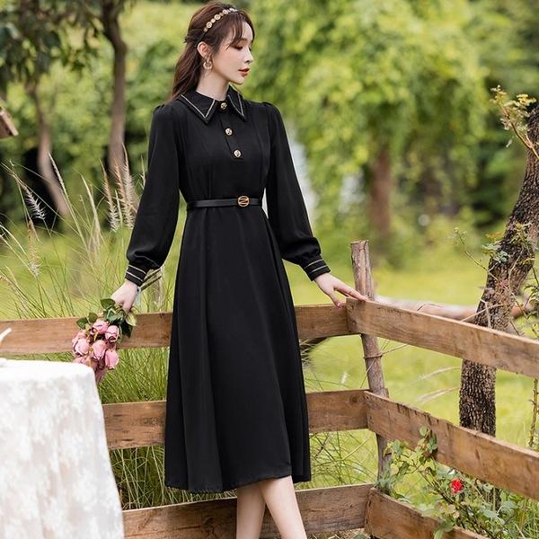 金色繡線滾邊復古風黑色長洋裝(附腰帶)[99275-QF]美之札