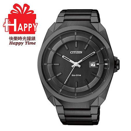 日本CITIZEN星辰Eco-Drive光動能都會紳士時尚腕錶  AW1015-53E  黑