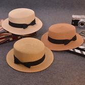 夏天防曬草帽女韓版平頂小禮帽子