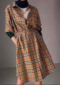 ■專櫃78折■Burberry Vintage 格紋棉質腰部綁帶襯衫式洋裝 UK4/6