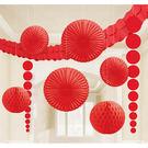 天花板裝飾組9入-蘋果紅