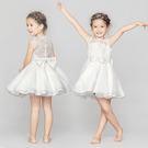 無袖洋裝 公主花童禮服蕾絲簍空珍珠蝴蝶結 S77032 AIB小舖