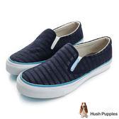 Hush Puppies 無印風網條咖啡紗中性懶人鞋-深藍