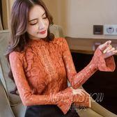 立領蕾絲衫 長袖襯衫 韓版喇叭袖上衣 百搭氣質打底衫
