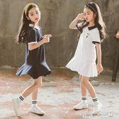 女童洋裝 女童連身裙韓版兒童學院風翻領刺繡荷葉邊短袖T恤裙 傾城小鋪
