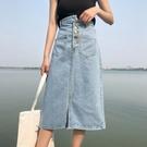 春季女裝新款韓版修身 高腰包臀半身裙學生中長款開叉牛仔A字裙潮  快速出貨