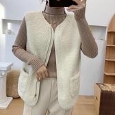馬甲外套 羊羔毛馬甲女短款2021新款秋冬韓版百搭女士坎肩外穿背心馬夾外套 霓裳細軟