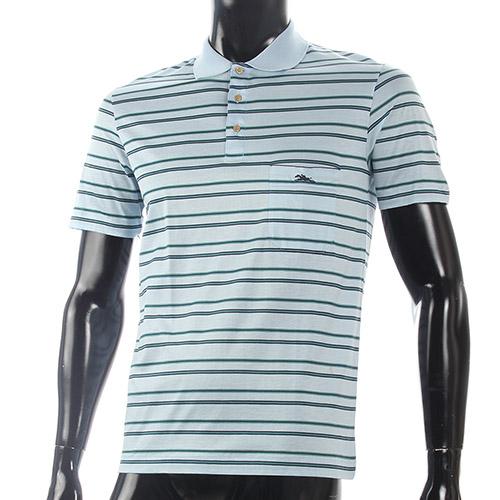 LONGCHAMP經典純棉雙條紋短袖POLO衫(水藍/綠)179240-4