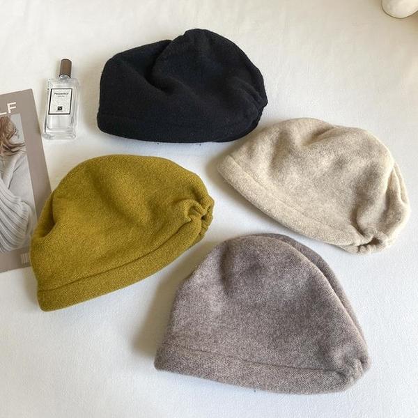 秋冬帽子女羊毛針織毛線帽保暖毛線帽堆堆帽套頭帽純色百搭包頭帽 寶貝計畫