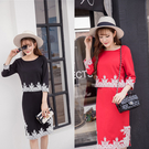 名媛撞色刺繡上衣+側開叉中長裙  (黑 紅)二色售  (MNNO) 11960011