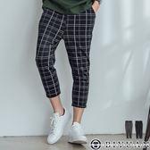 【OBIYUAN】休閒長褲 虛線 格紋 寬鬆 修身九分褲 寬褲 共2色【K0001】