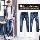 高磅數湛藍刷色牛仔褲...