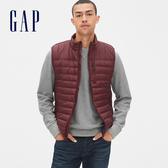 Gap男裝 輕盈溫暖無袖拉鏈棉服馬甲 473538-經典酒紅色