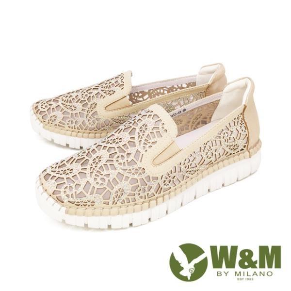 【南紡購物中心】W&M(女) 亮鑽縷紗內增高鞋 自尊鞋 樂福鞋 女鞋 - 金 (另有藍 )