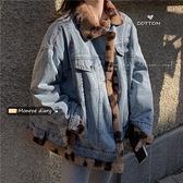兩面穿復古百搭牛仔外套2021秋冬新款女韓版寬鬆加厚加絨ins上衣 降價兩天