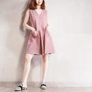 M無袖洋裝  V領素面挺版優雅有襯二碼-月兒的綺麗莊園