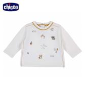 chicco-浣熊學士-繡圖長袖上衣-米