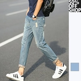 50%OFF SHOP 作舊復古花紋拼接牛仔褲【002335ABAI】