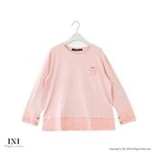 【INI】美麗氛圍、A字剪裁拼接布蕾絲長袖上衣.粉色