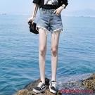 牛仔短褲 牛仔短褲女夏寬鬆新款高腰顯瘦大碼a字寬管熱褲潮-Ballet朵朵