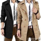 現貨出清男士風衣中長款春秋季韓版潮男修身英倫外套青年大衣薄款學生外套『潮流世家』