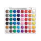◎48色粉餅水彩 + 水彩筆乙支入塑膠盒(筆毛沾膠束尖,套筆套)