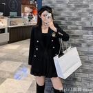 西裝外套 黑色休閒學院風西裝外套女秋季韓版設計感小眾英倫風小西服女上衣 618購物節