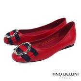 Tino Bellini 特殊環飾MIX雙色寬版蝴蝶結娃娃鞋_ 紅 A83081