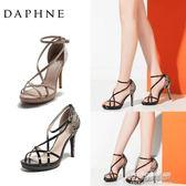 女鞋 夏季時尚蕾絲交叉帶一字細跟扣超高跟涼鞋 可可鞋櫃