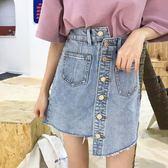 不規則單排扣牛仔半身裙女夏季新品韓版水洗百搭高腰包臀短裙學生 限時八五折