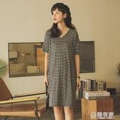 孕婦春裝夏裝上衣短袖孕婦洋裝夏中長款條紋打底衫寬鬆t恤裙子