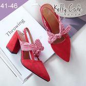 大尺碼女鞋-凱莉密碼-氣質絨面緞帶蝴蝶結尖頭粗高跟涼鞋8cm(41-46)【BB28-16】紅色