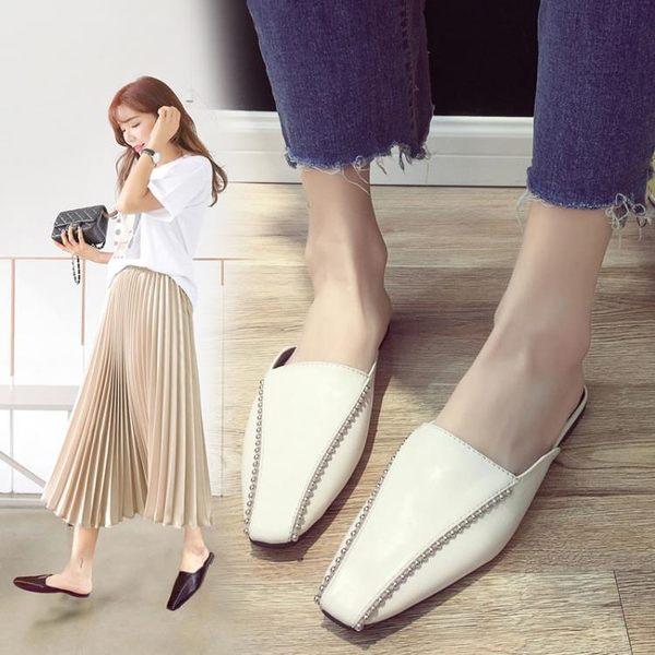 低跟鞋 同款新款百搭拖鞋女夏外穿復古穆勒鞋平底鉚釘包頭半拖 探索