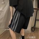 短褲男夏季潮牌外穿直筒寬鬆5分褲ins潮流港風三條杠運動休閒中褲 一米陽光