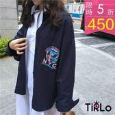 外套 -Tirlo-美式刺繡徽章工裝襯衫外套-兩色(現+追加預計5-7工作天出貨)