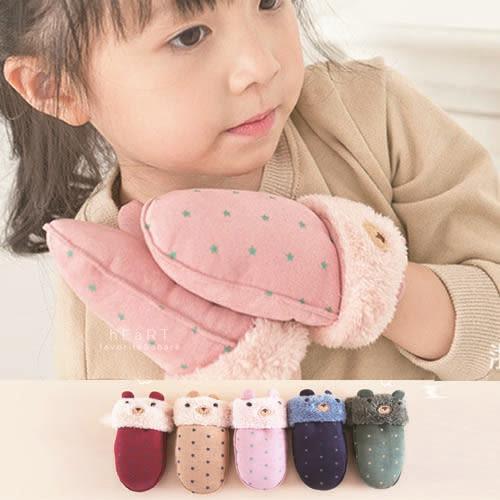 麂皮手感星星小熊包指保暖手套 兒童手套 麂皮手套 冬季保暖