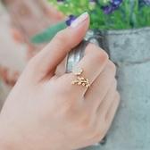 戒指 925純銀 鑲鑽-氣質樹葉生日情人節禮物女開口戒2色73dv38【時尚巴黎】