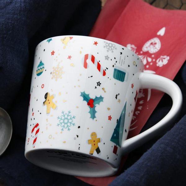 cybil 美式厚實大容量金色圣誕雪人陶瓷早餐杯馬克杯杯子水杯創意 全館八八折鉅惠促銷