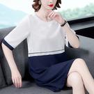 女士洋裝2031夏季新款女裝短袖撞色拼接連衣裙 寬松簡約直筒短裙DC250D快時尚