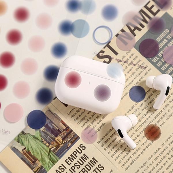 【BlueCat】逆光雲煙透明貼紙 (2入) 圓點貼紙 手帳貼紙 手機裝飾 切膜