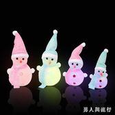 圣誕創意發光雪人玩偶活動兒童玩具小禮物禮品桌面擺件裝飾品 DR4188【男人與流行】