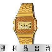 【台南 時代鐘錶 CASIO】CASIO 復古當道的盛行簡易型電子腕錶-金-A159WGEA-9A