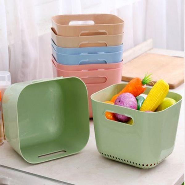 [拉拉百貨]加高2件式洗菜籃 方形瀝水籃盛水籃洗蔬菜水果 雙層設計 居家廚房收納