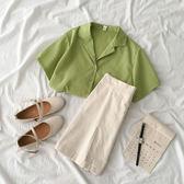 現貨 兩件套裝夏季2019新款女裝韓版西裝領短袖襯衫外套高腰半身裙子潮