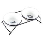 寵物碗餐桌卡通陶瓷碗雙碗碗和鐵絲碗架可分離貓碗狗碗