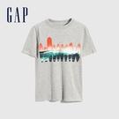 Gap男童 活力純棉印花短袖T恤 697885-灰色