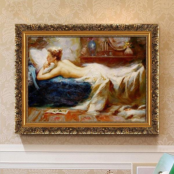 裝飾畫床頭畫房間臥室掛畫美式歐式裸女單幅壁畫橫幅人物人體畫 萬聖節鉅惠