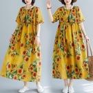 中大尺碼洋裝 復古印花民族風夏裝大碼女裝遮肉顯瘦過膝長裙短袖休閑圓領連身裙