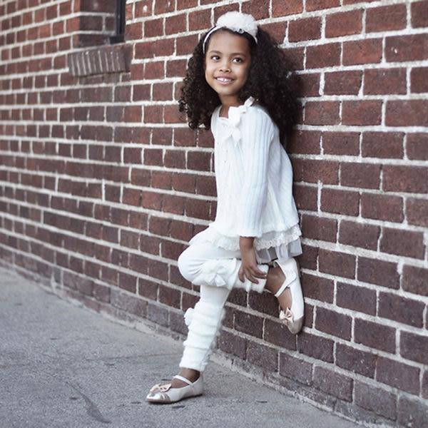 ★童裝大亨★美國MAELI ROSE雙層蕾絲衣擺蝴蝶結針織洋裝上衣5f05象牙白